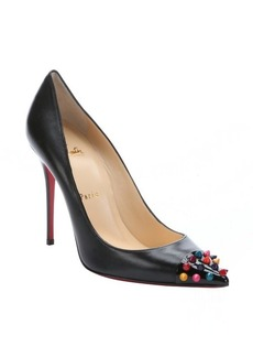 Christian Louboutin black leather 'Geo' stiletto pumps