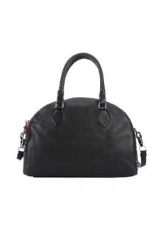 Christian Louboutin black leather 'Panettone' eyelet detail large convertible satchel
