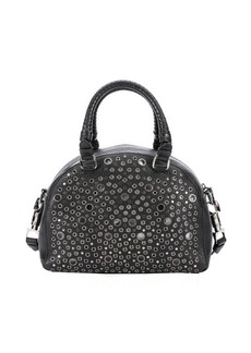 Christian Louboutin black leather 'Panettone' eyelet detail small convertible satchel