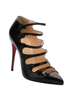 Christian Louboutin black leather 'Viennana 100' strappy pumps