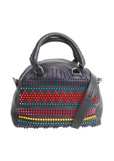 Christian Louboutin black multi color spike studded bowler bag