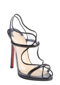 Christian Louboutin black patent leather and pvc 'Aqua Ronda' sandals