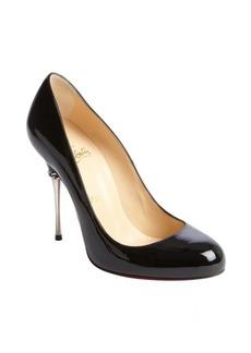 Christian Louboutin black patent leather chain detail metal heel pumps