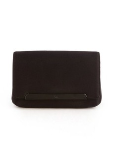Christian Louboutin black sateen 'Rougissime' clutch
