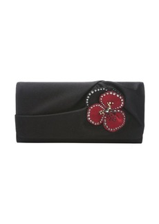 Christian Louboutin black satin 'Pensamoi' floral detail clutch