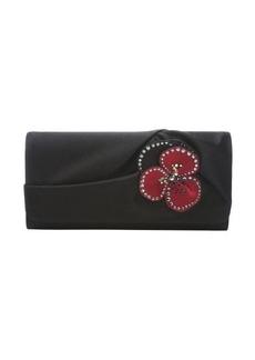 Christian Louboutin black satin 'Pensamoi' floral detail clutch