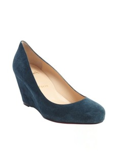 Christian Louboutin blue khol suede 'Melisa 70' wedge pumps