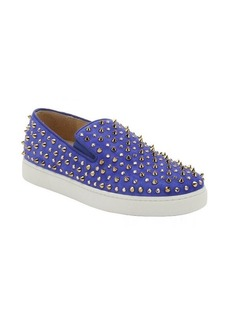 Christian Louboutin blue suede 'Roller' crystal and spiked slip-on sneakers