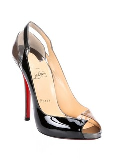 Christian Louboutin brown and black patent leather 'Technicatina 120' peep-toe pumps