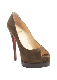 Christian Louboutin brown suede platform ' Palais Royal Trepointe 140' peep toe pumps