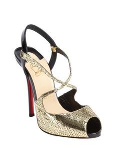 Christian Louboutin champagne snake embossed 'Cross Street' sandals