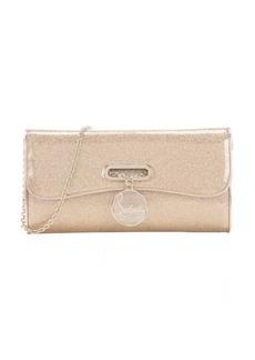 Christian Louboutin gold glittered PVC 'Riviera' clutch bag