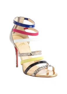 Christian Louboutin gold leather 'Mariniere 100' multi-color embossed accent open toe sandals