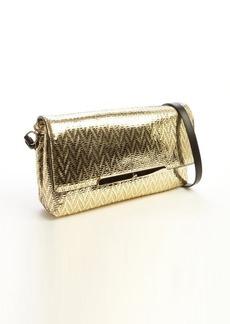 Christian Louboutin gold textured metallic leather chevron 'Rougissime' convertible shoulder bag