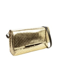 Christian Louboutin gold textured metallic leather chevron 'Rougissime' convertible shoulder bag