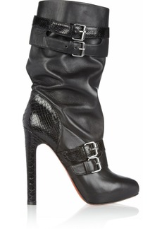 Christian Louboutin Loubi Bike 140 leather and python boots