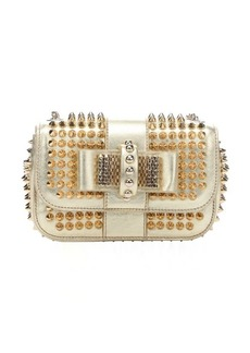 Christian Louboutin metallic gold leather 'Sweety Charity' spiked shoulder bag