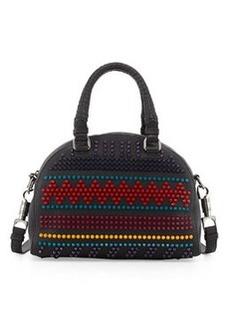 Christian Louboutin Panettone Small Spiked Chevron Satchel Bag, Black Multi