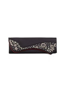 Christian Louboutin Pigalle Crystal Embroidered Satin Clutch Bag, Black