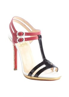 Christian Louboutin pink and black leather glitter heel 'Double Tutti' sandals