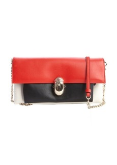 Christian Louboutin red, black and white leather 'Khepira' convertible clutch