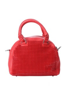Christian Louboutin red calfskin spiked small 'Panettone' satchel bag