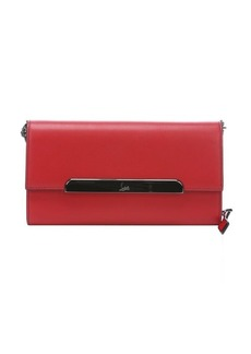 Christian Louboutin red leather 'Rougissime' flapfront clutch