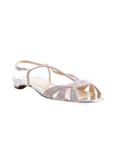 Christian Louboutin silver crystal studded canvas strappy evening flats