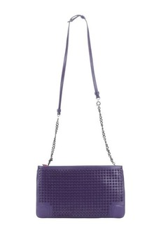 Christian Louboutin violet leather studded 'Loubiposh' shoulder bag
