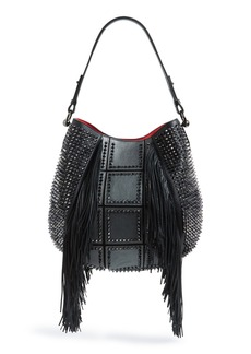 Christian Louboutin 'Lucky L' Studded Hobo with Fringe