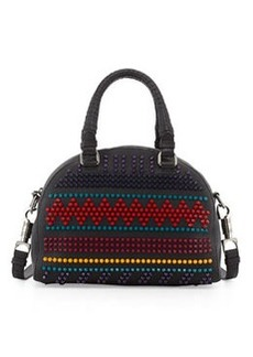 Panettone Small Spiked Chevron Satchel Bag, Black Multi   Panettone Small Spiked Chevron Satchel Bag, Black Multi