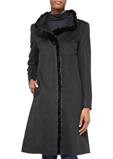 Cinzia Rocca A-line Alpaca-Blend Mink-Trim Coat