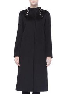 Cinzia Rocca Beaded Collar A-line Coat