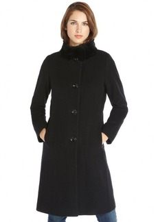 Cinzia Rocca black wool and cashmere blend rabbit fur trimmed coat