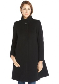 Cinzia Rocca black wool and cashmere blend stand collar a-line coat