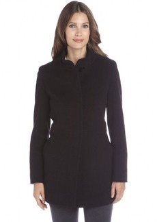 Cinzia Rocca black wool and cashmere knit stand collar button front coat