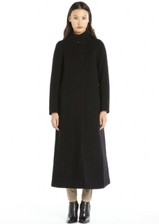 Cinzia Rocca black wool and cashmere stand collar full length coat