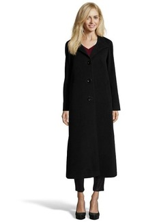Cinzia Rocca black wool blend four button front stand collar coat