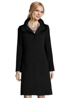 Cinzia Rocca black wool blend fur trimmed stand collar button front coat