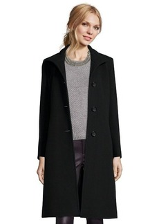 Cinzia Rocca black wool blend stand collar button front coat