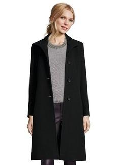 Cinzia Rocca black wool blend stand collar button front coat