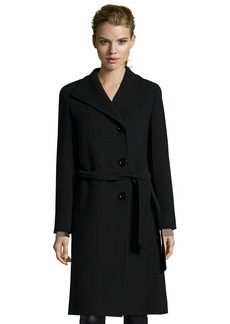 Cinzia Rocca black wool button front belted 3/4 length ...