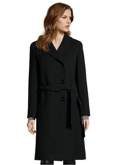 Cinzia Rocca black wool button front belted 3/4 length coat