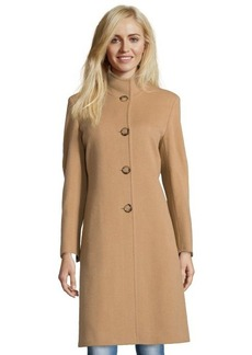 Cinzia Rocca camel wool and cashmere blend stand collar button front coat