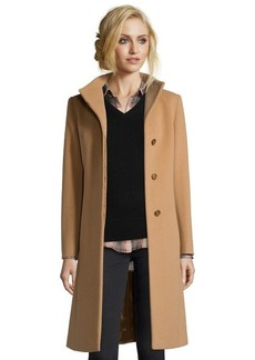 Cinzia Rocca camel wool blend envelope collar 3/4 length coat