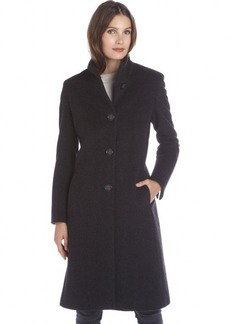 Cinzia Rocca charcoal wool and cashmere blend stand collar button front coat