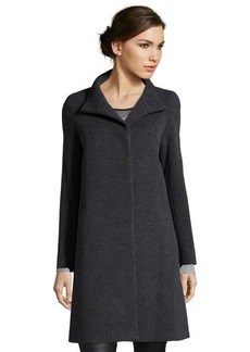 Cinzia Rocca charcoal wool blend stand collar coat