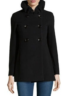 Cinzia Rocca Double-Breasted Ruffle-Front Coat, Black