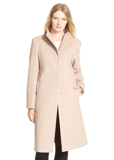 Cinzia Rocca DUE Funnel Collar Wool Blend Long Coat (Regular & Petite)
