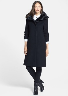 Cinzia Rocca DUE Genuine Rabbit Fur Collar Long Coat